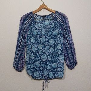 Lucky Brand peasent blue floral top S